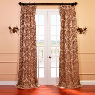 Astoria Taupe and Mushroom Faux Silk Jacquard French Pleated Curtains