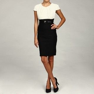 Tiana B Womens Black/ Ivory Crinkle Belted Dress