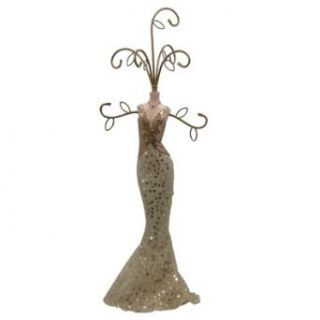 Gold Jewelry Stand Doll Dress Form Sequin Circles 17H
