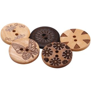 Hand Painted Wooden Buttons (Pack of 100)