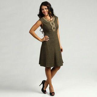 Ellen Tracy Womens Honey Tweed Beaded Dress