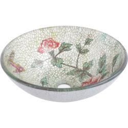 Geyser Glass Vessel Flower Pattern Vanity Vessel Bathroom Sink