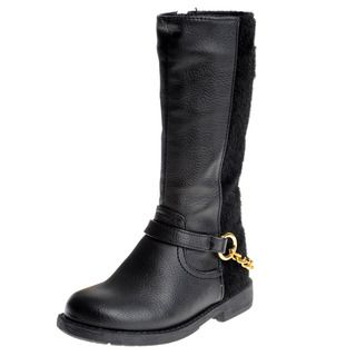 Eddie Marc Girls Faux Fur Knee High Riding Boots
