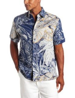 Cubavera Mens Short Sleeve Yarn Dye Slub Print Shirt