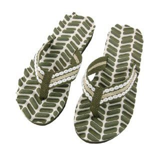 Foam Slippers Thong Sandal Flip Flops Army Green White EU 40.5: Shoes