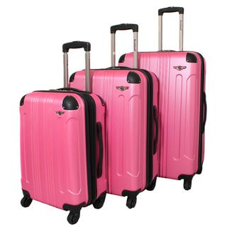 Rockland London Light Weight Expandable Pink 3 piece Hardside Spinner