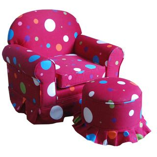 Kids Club Hot Pink Chair and Ottoman Set