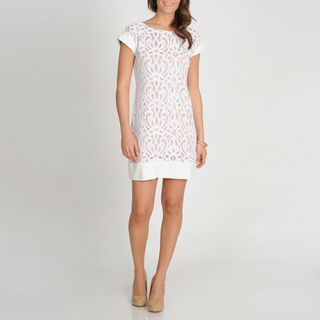 Tiana B. Womens Ivory Embroidered Lace Dress