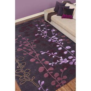 Hand tufted Contemporary Lavish Plum Abstract Rug