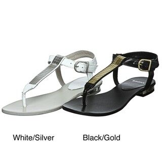 Bronx Womens A Winner Leather T strap Sandals