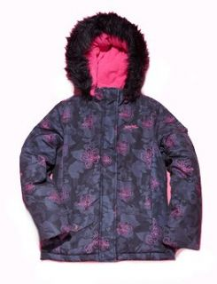 Pink Floral/Charcoal Coat   Girls 10 Clothing