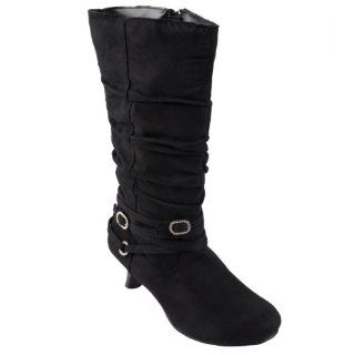 Journee Collection Girls Buckle Detail Suede Kitten Heel Boots Shoes
