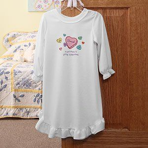 Personalized Candy Hearts Girls Valentines Day Nightgown