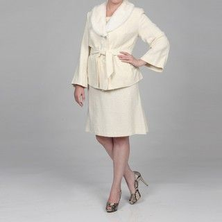 John Meyer Collection Womens Plus Size Ivory Faux fur Skirt Suit