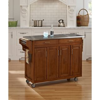 Create a Cart Cottage Oak Finish Stainless Top