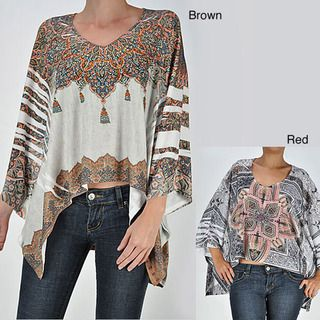 Tabeez Womens Brown Rhinestone Tribal Poncho