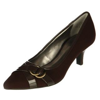 Anne Klein Womens Direct Brown Cross strap Kitten Heels