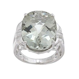 Oro Leoni Sterling Silver Green Amethyst Ring (Size 7)