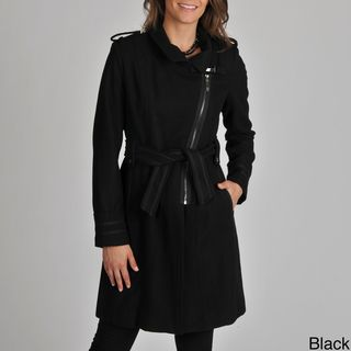 Vince Camuto Womens Wool blend Diagonal Zip Coat