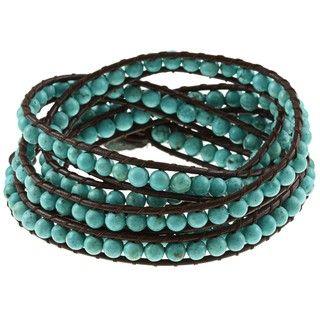 Turquoise Magnesite Leather Wrap Bracelet