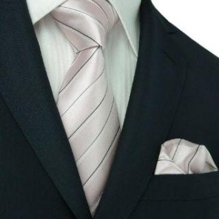 Mens Light Pink And Black Stripes 100% Silk Tie