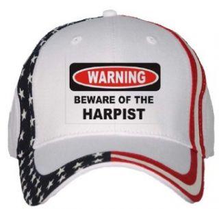 BEWARE OF THE HARPIST USA Flag Hat / Baseball Cap