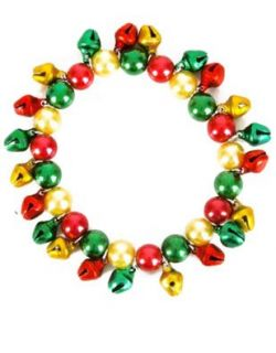 New Red Green & Gold Faux Pearl Jingle Bells Bracelet