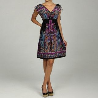Emma & Michele Womens Paisley Drawstring Dress