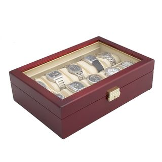Glossy Rosewood Finish 10 watch Display Storage Case