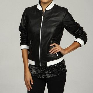 Sean John Womens Black Lambskin Leather Athletic Jacket FINAL SALE