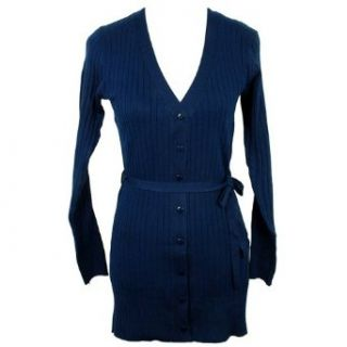 Navy Blue Classic Long Ribbed Cardigan Sweater Clothing