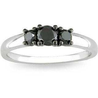 Miadora Silver 1/2ct TDW Black Diamond Three stone Ring