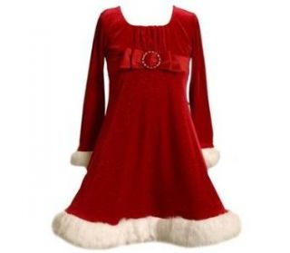 Bonnie Jean Girls Red Velvet Sparkling Santa Dress with