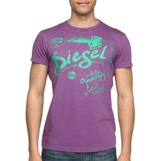 DIESEL T Shirt Ducha Homme Violet et vert   Achat / Vente T SHIRT