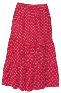 Short Tiered Skirt/Red with White Polka Dots, Large
