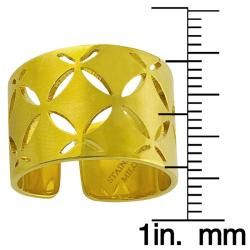 14k Yellow Gold over Stainless Steel Wide Cigar Band Ring