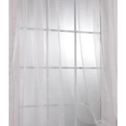 Off White Faux Organza 108 inch Sheer Curtain Panel Pair