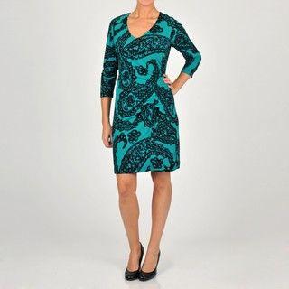 Oleg Cassini Womens Paisley Jersey Knit Dress