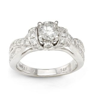 14k White Gold 1 5/8ct TDW Round cut Diamond Engagement Ring (H I, I1