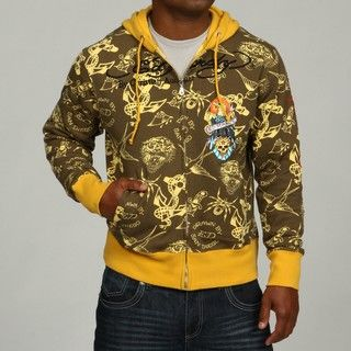 Ed Hardy Mens Zip Front All Over Printed Hoodie