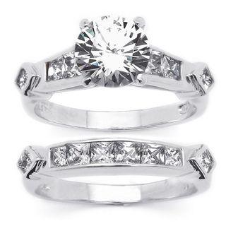 Ultimate CZ Platinum over Silver 2 piece Cubic Zirconia Wedding Ring