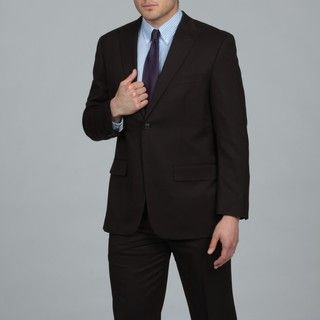 Alfani Mens Dark Brown Two button Wool Suit