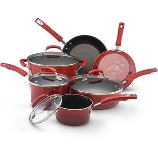 Rachael Ray II Red Porcelain Enamel Nonstick 10 piece Cookware Set