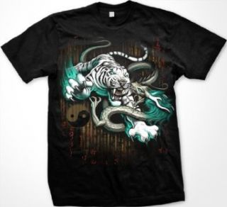 Death Match Mens T shirt, Tiger and Dragon Yin Yang Liquid