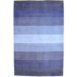 Hand tufted Blue Stripes Wool Rug (8 x 10)