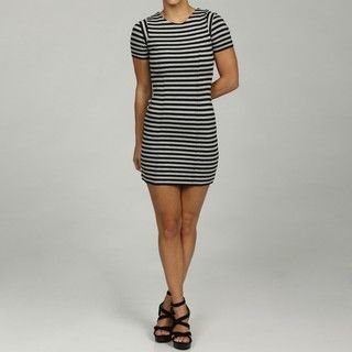 French Connection Black/Grey Stripe Scoop Neck Dress