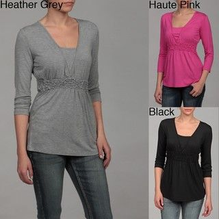 Cable & Gauge Womens Ruched 3/4 sleeve Top