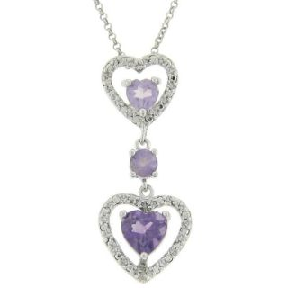 Sterling Silver Amethyst and Diamond Accent Double Heart Drop Necklace