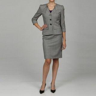 Tahari Womens Black/ White 3 button Skirt Suit