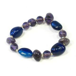 Silver Purple Blue Passion Amethyst and Quartz Bracelet (India